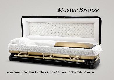 Master Bronze Casket, 32 oz. Bronze Full Couch, Black brushed Bronze, White Velvet Interior